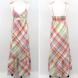 Old Navy XL Maxi Dress Plaid Ruffle Hem V Neck